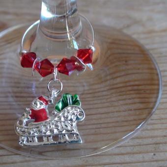 Weinglasring Santas Schlitten
