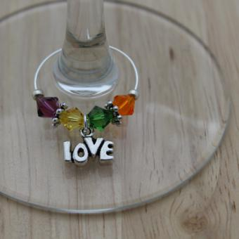 Weinglasring Regenbogen Love